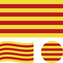 Flag of Catalonia. Correct proportions, wave, round. Abstract concept, icon set. Vector illustration.