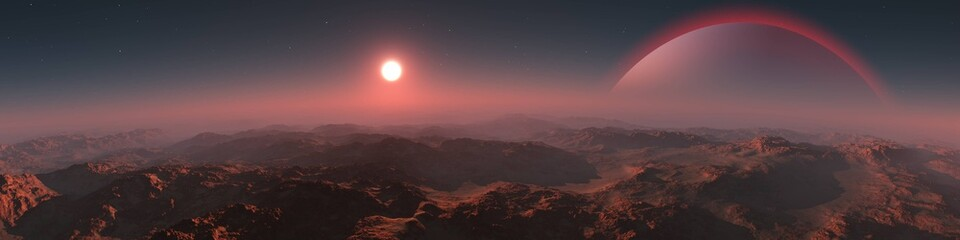 Panorama of an alien landscape. Sunset on Mars. Alien sunset. 3d rendering.