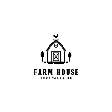 Wood Barn Farmhouse Minimalist Vintage Retro Logo design inspiration