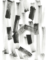 Black and White Background. Abstract black dry brush strokes. Contemporary Art Work.