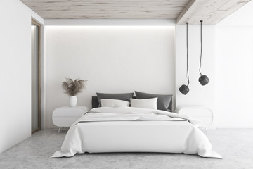 Luxury white minimalistic bedroom interior