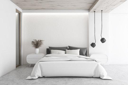 Luxury white minimalistic bedroom interior