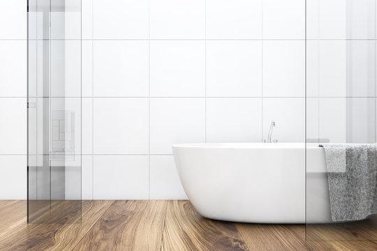 White tile wooden floor bathroom