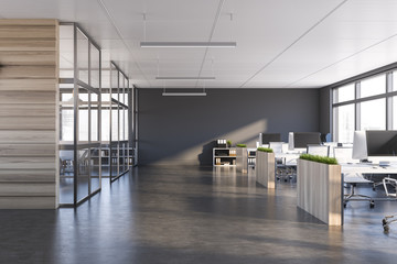 Gray and dark wood open space office interior