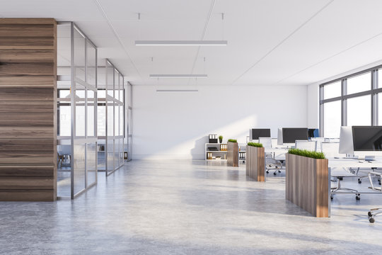 White and dark wood open space office interior