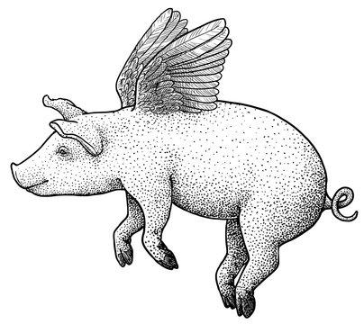 Flying pig illustration, drawing, engraving, ink, line art, vector
