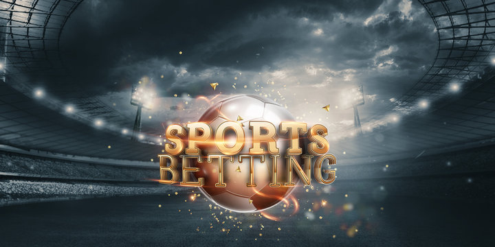 Gold Lettering Sports Betting Background with Soccer Ball and Stadium. Bets, sports betting, watch sports and bet.