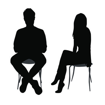 Vector silhouettes of  man and a woman, a group of sitting business people, black color isolated on white background