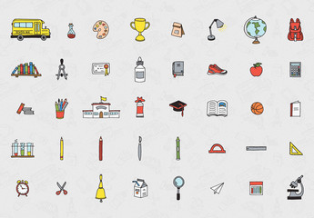 Illustrative Back to School Elements Icon Set