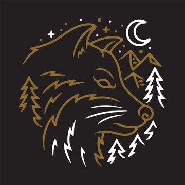 Animal Wolf Night Line Graphic Illustration Vector Art T-shirt Design
