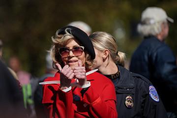 Jane Fonda leads Fire Drill Fridays outside the U.S. Capitol in Washington