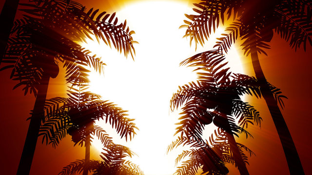3D rendering retro futuristic background with palm trees on a background of the sun. 80s style computer graphics