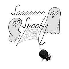 Ghosts and a Spider hanging from the words So Spooky