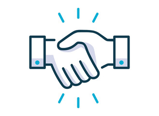 Handshake line icon. Partnership and agreement symbol. Vector illustration