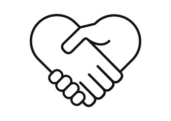Hand palm care love symbol. Hands together. Heart symbol. Partnership business logo. Two hands make a deal. Handshake, cooperation and teamwork, love and relationship vector logo icon.