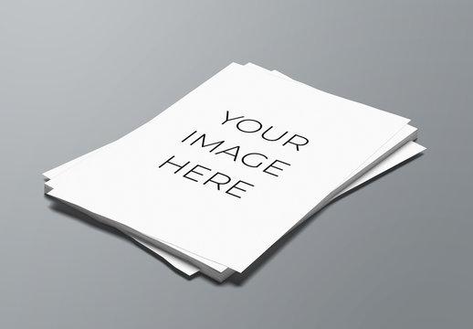 A4 Paper Stack Mockup