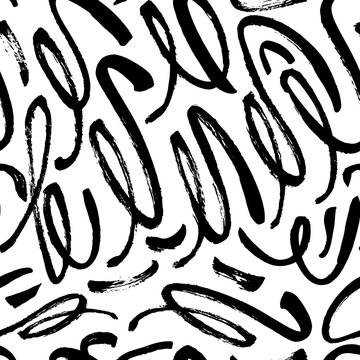 Seamless pattern with hand drawn brush strokes. Vector ornament for wrapping paper, wallpapers, web design etc.