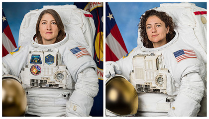 Astronauts Christina Koch and Jessica Meir pose for their official NASA portraits in undated photos taken at Johnson Space Center