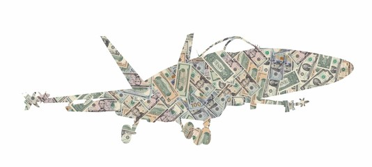 Silhouette of a military plane fighter formed with american dollars bills isolated on white background