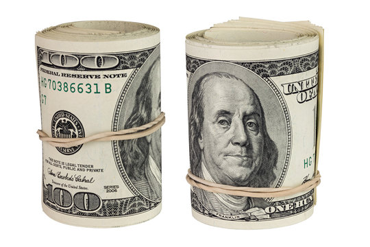 set of two rolls of hundred us dollars standing up and isolated on white background