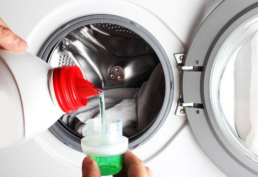 liquid detergent bottle pour washing machine hand