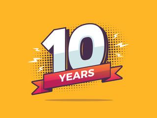 Obraz 10 years sign in pop art style vector illustration - fototapety do salonu