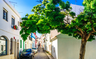View on street with historical buildings in the old town of Lagos, Algarve Portugal
