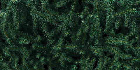 Background of Christmas tree branches. Happy New Year green theme background. 3d rendering.