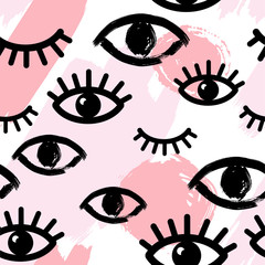 Abstract seamless pattern with pink hand drawn brush strokes and eyes