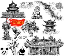 Set of hand drawn sketch style China related objects isolated on white background. Vector Illustration.