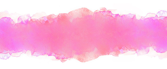 watercolor horizontal stripes with texture.  band light pink with peach color. .soft watercolor texture