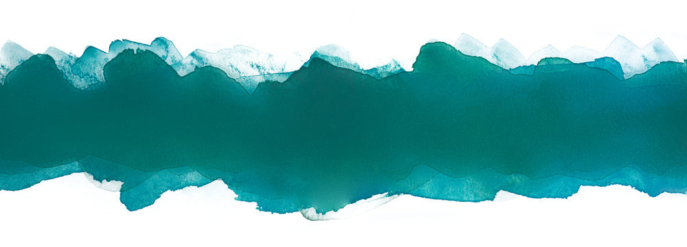 watercolor horizontal strip with texture. band dark green band with jagged edges..soft watercolor texture