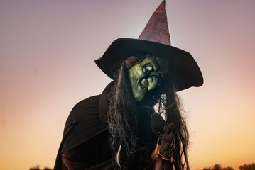 Witch scarecrow at dusk
