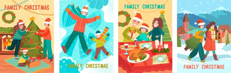 Cute new year and christmas vector illustrations of a loving happy family on a winter vacation, mom, dad and baby are walking in nature, hugging and decorating a Christmas tree. Vector illustration