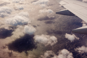 Aerial view of clouds from plane
