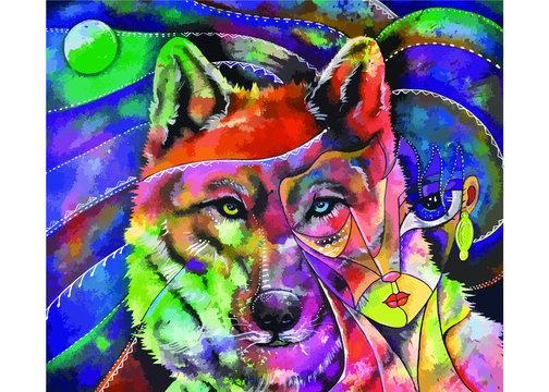 Retrato de chica con lobo