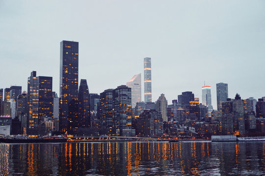 New York City skyline with lights on during day