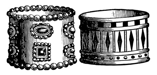 Persian and Egyptian Armlets vintage engraving.