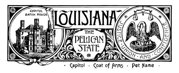 The state banner of Louisiana the pelican state vintage illustration Fotomurales
