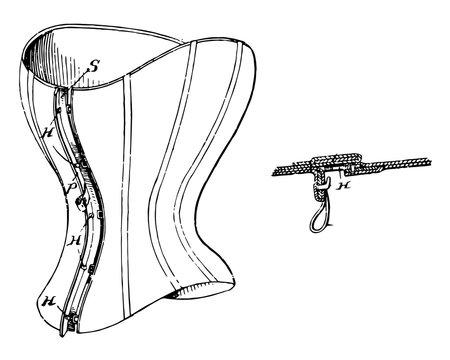 Corset Fastener is a garment worn vintage engraving.