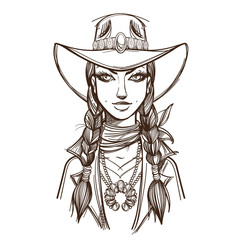 Girl in a cowboy hat illustration for coloring. Portrait of a beautiful woman. Country style for t-shirt design or print.