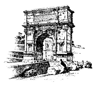 Arch of Titus, honorific arch, vintage engraving.