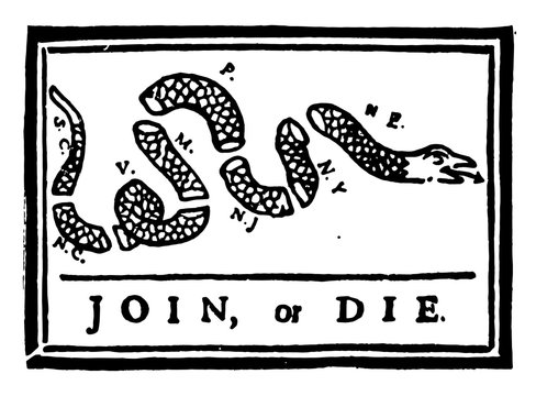 Join or Die vintage illustration