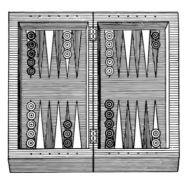 Backgammon vintage illustration.