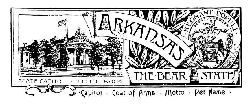 The state banner of Arkansas the bear state vintage illustration