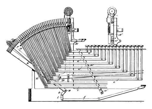 Linotype Machine vintage illustration.