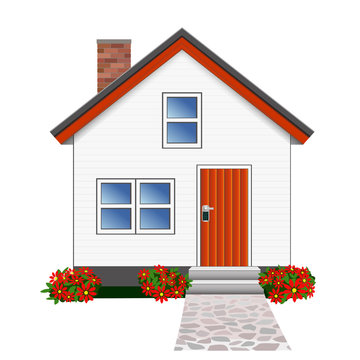 Little house in shiplap weatherboards with path and garden vector
