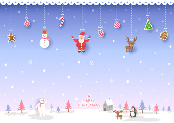 Illustration of Merry Christmas design with ornaments on snowy background.