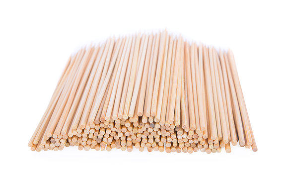 Wooden skewers food isolated on a white background