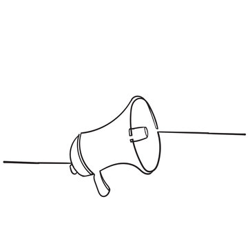 doodle megaphone speaker icon illustration with handdrawn style vector